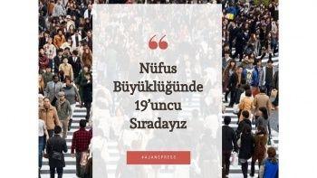 Türkiye nüfus büyüklüğünde 19'uncu sırada