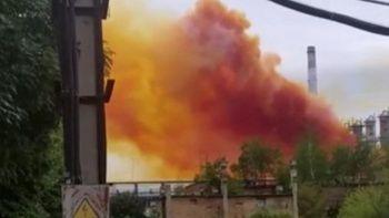 Ukrayna'da gökyüzü turuncuya boyandı: Azot fabrikasında patlama