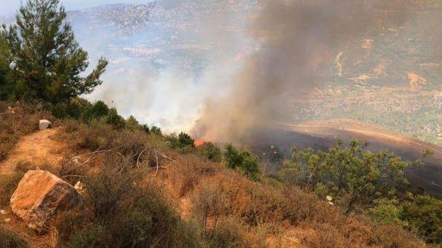 Lübnan'da ormanlık alanda yangın evler boşaltıldı