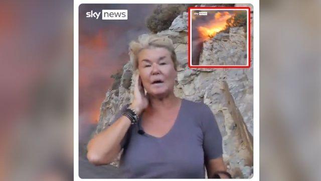 Milas'taki yangında alevler arasında kalan İngiliz muhabir böyle yayın yaptı