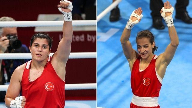 Milli boksörlerimiz Buse Naz Çakıroğlu ile Busenaz Sürmeneli, Tokyo'da finale yükseldi
