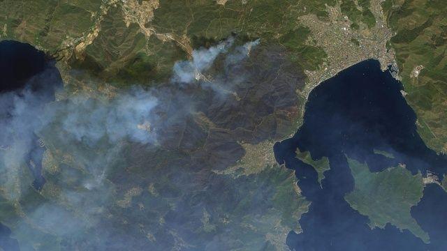 Yangının boyutu gözler önüne serildi! Uzaydan Manavgat ve Marmaris görüntüleri