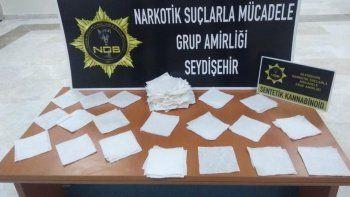 162 peçeteye emdirilmiş 400 bin liralık uyuşturucu ele geçirildi