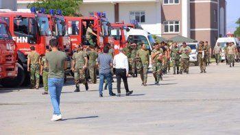 Görev tamam: Azerbaycanlı itfaiyeciler dönüş yolunda