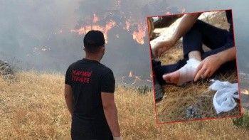 İtfaiye erinin vatan sevdası: Ayağında sargı beziyle yangına koştu