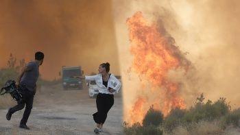 Orman yangınında aniden yükselen alevler paniğe neden oldu