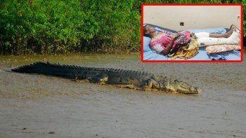 Yaşlı kadını timsah nehre sürükledi ağzını açarak kurtuldu!