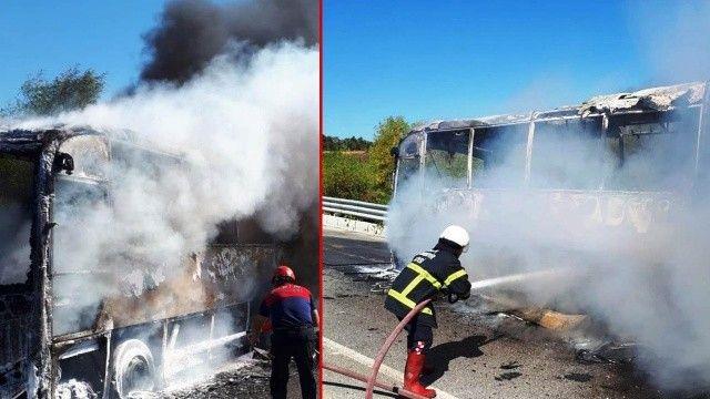 Seyir halindeki tur otobüsü alev aldı, facianın eşiğinden dönüldü!