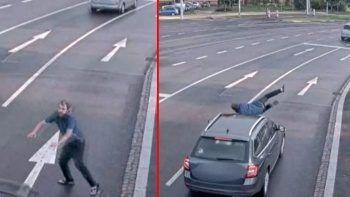Bir anda hızla gelen aracın önüne atladı kalkıp yoluna gitti