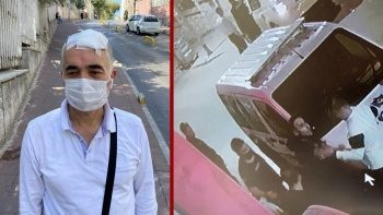 Taksiciye yumruklu sopalı saldırı kamerada: Hastanelik ettiler