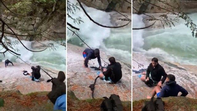 5 Hintli nehre düşen dağcıları sarıklarıyla kurtardı