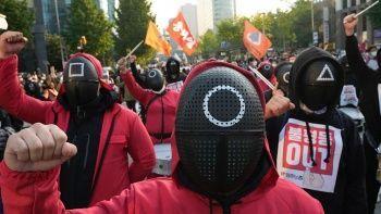 80 bin işçiyi Squid Game harekete geçirdi: Ülke genelinde protesto