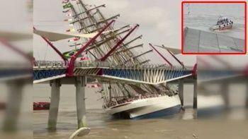 Ekvador'da yaya köprüsüne gemi çarptı