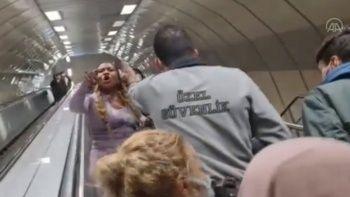 Metroda maske takmayan yabancı uyruklu yolcu indirildi