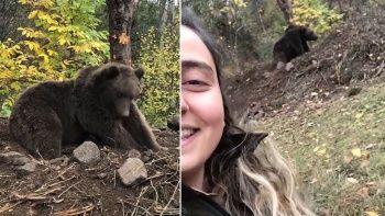 Ormanda ayıya rastladı, selfie çekti