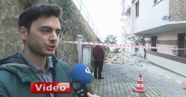 Trabzon'da hafriyat kamyonu apartmana girdi