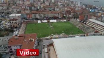 Kartal Stadyumu'nda tehlikeli antrenman havadan görüntülendi