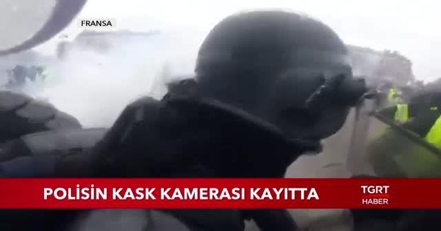 Fransa'da protestolar sırasında yaşananlar kask kamerasına yansıdı!