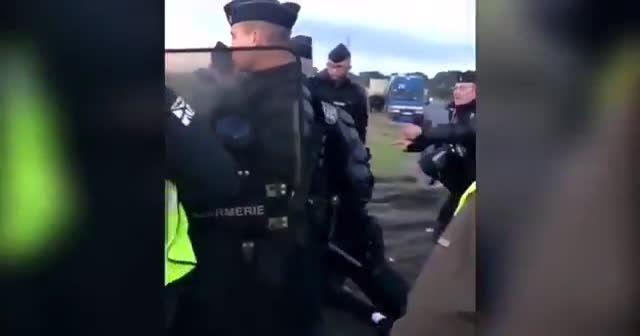 Fransız polisi engelli eylemciyi yere attı