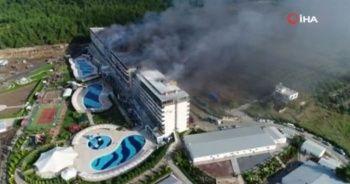 Hatay'da termal otelde yangın havadan görüntülendi