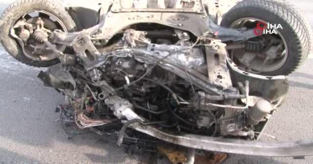 Trafik kazasında takla atan otomobilden sağ kurtuldu