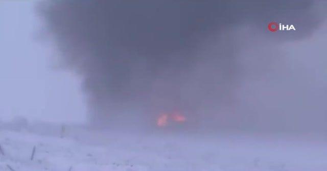 Rus savaş uçağının düşme anının görüntüleri ortaya çıktı