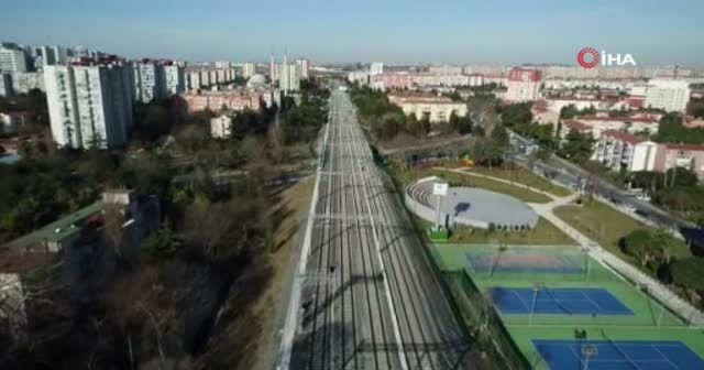 Halkalı-Gebze banliyö hattı havadan görüntülendi