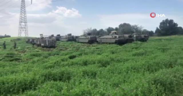 Gazze sınırında onlarca İsrail tankı gözlendi