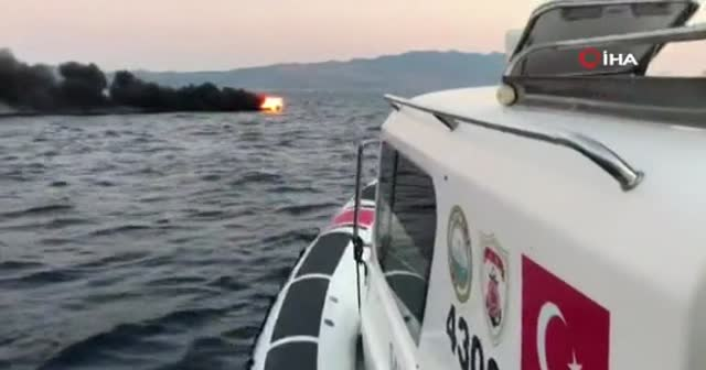 Bodrum'da yaşanan tekne yangınının görüntüleri ortaya çıktı