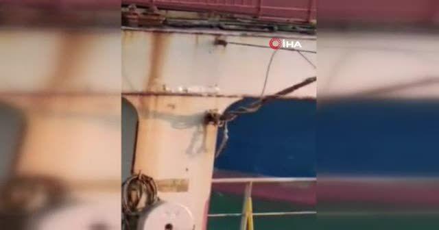 Konteyner gemisi limana çarptı