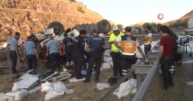 Başkent'te takla atan tırın sürücüsü öldü