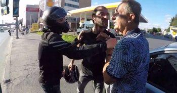 Motosikletlinin ölümden döndüğü kaza sonrası kavga çıktı