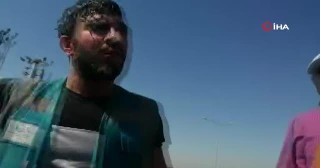 Geri dönüşüm merkezinde yangını görüntüleyen gazetecilere saldırı
