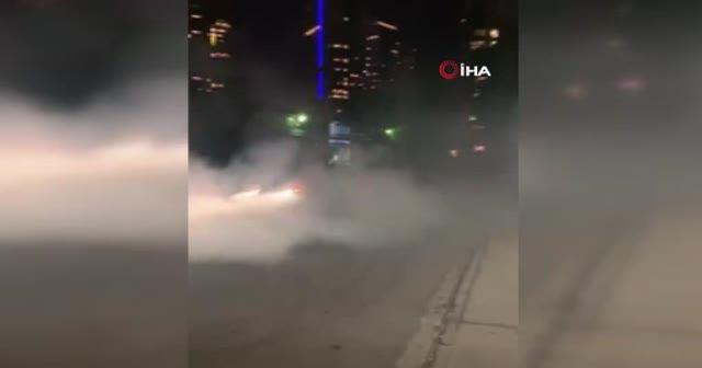 İstanbul'da lüks otomobillerle 'drift' yaptılar