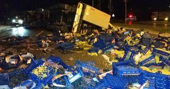 Samsun'da üzüm yüklü tır yola devrildi: 1 yaralı