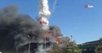 Tuzla'daki fabrikada tankerin patlama anı kameralara yansıdı