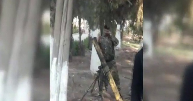 Kamışlı'da teröristlerin havan topu atışı kameraya yansıdı