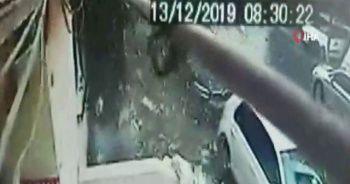 6 katlı binanın çatı katının çökme anı kamerada