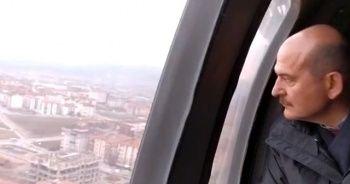Bakan Soylu, depremden zarar gören yerleri havadan inceledi