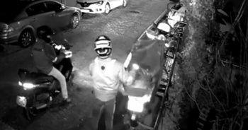 Baltayı taşa vuran motosiklet hırsızları kamerada