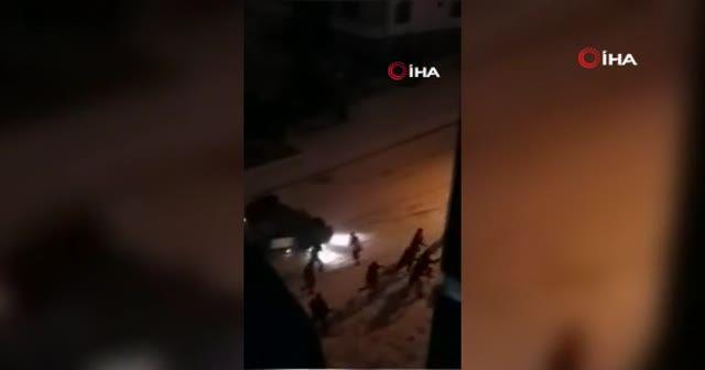 Karda kayan araçların kaza anları çığlık çığlığa kamerada