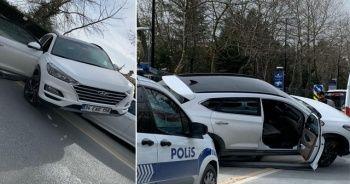 İstanbul'da ilginç kaza: Cip otomobilin üstüne çıktı