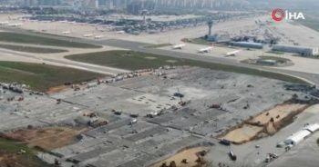 Atatürk Havalimanı'nda yapılan pandemi hastanesi aşama aşama havadan görüntülendi