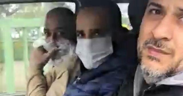 Polisi görünce yüzünü poşetle kapattı