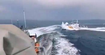 Türk botu Yunan botunu böyle kovaladı