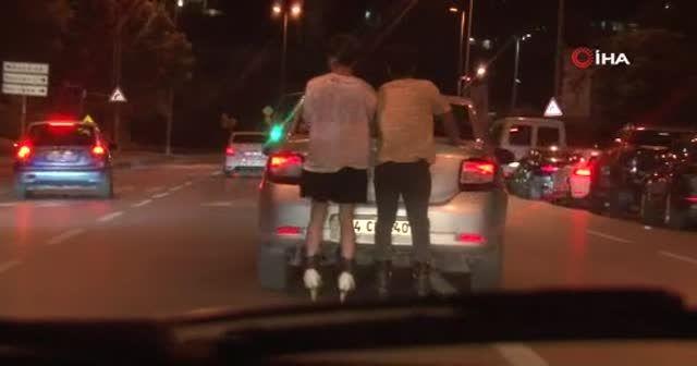 Caddebostan Sahil'de patenli gençlerin tehlikeli yolculuğu
