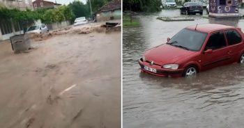 Kırklareli'de sel felaketi: Çöp konteynerleri suya kapıldı, araçlar suya gömüldü