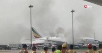 Çin'deki Havalimanı'nda Etiyopya uçağı alev alev yandı