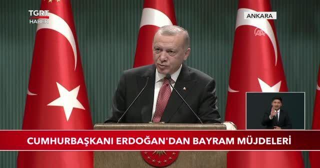 Cumhurbaşkanı Erdoğan'dan bayram müjdeleri