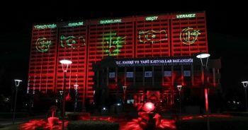 Enerji ve Tabii Kaynaklar Bakanlığından 15 Temmuza özel ışıklandırma